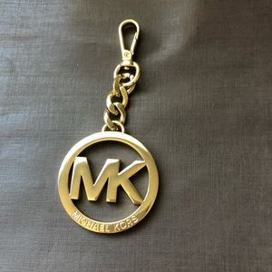 Michael Kors Large MK Logo Gold Bag Charm Keychain